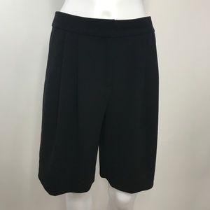 🆕 J Crew Crepe Pleat Elongated Black Shorts SZ 2